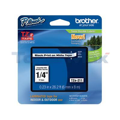 BROTHER TZ LAMINATED TAPE BLACK ON WHITE 0.23 IN X 26.2 FT
